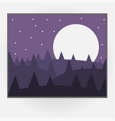 cartoon style photo frame with night nature vector image
