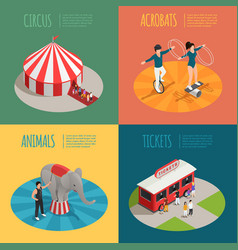 circus isometric 2x2 design concept vector image vector image