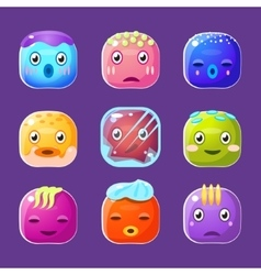 Funny Colorful Square Faces Set Emotional Cartoon vector image vector image