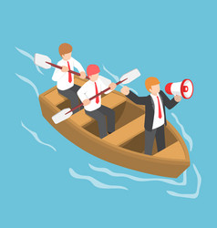 isometric businessman in rowing team with leader vector image vector image