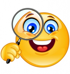 Magnifying glass emotion vector