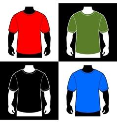 Blank color t-shirt men body silhouette vector