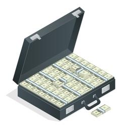 Case full of money on white background Lot of vector image