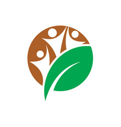 circle human leaf eco logo vector image vector image