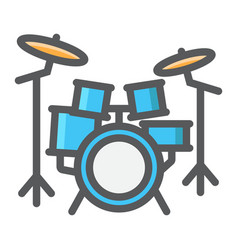 drum kit filled outline icon music and instrument vector image vector image