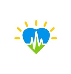 heart beat love medical logo vector image vector image