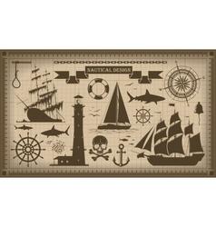 Set of nautical design elements EPS10 vector image