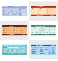 Ticket airline banner horizontal set flat style vector