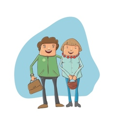 young couple on the street vector image