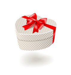 Beige gift box with red bow vector image vector image