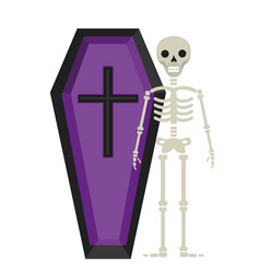 coffin and skeleton icon is a flat style isolated vector image