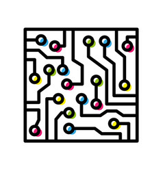 computer circuit board colorful isolated black vector image vector image