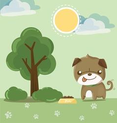 pug smile in the garden vector image vector image
