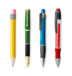 realistic 3d pen and pencil set vector image vector image