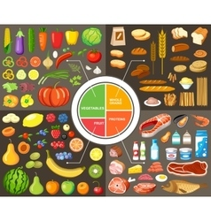 Set of products for healthy food vector image