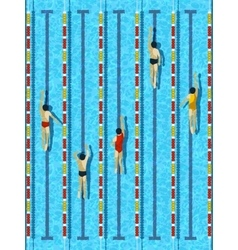 Top view swimming pool with athlete swimmers vector image