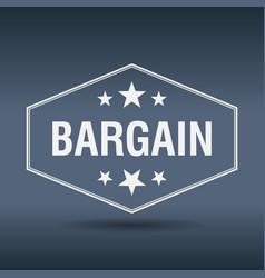 bargain hexagonal white vintage retro style label vector image