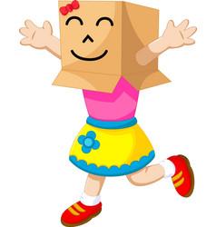 cute girl cartoon playing cardboard vector image