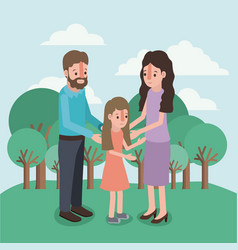 family members in the field vector image