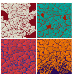 four cracks pattern set vector image vector image