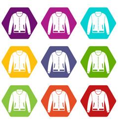 jacket icon set color hexahedron vector image vector image