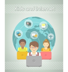 Kids on Internet World Over vector image vector image