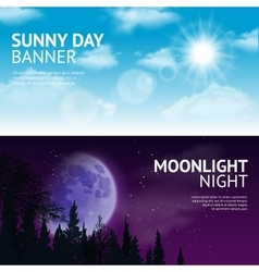 Night and day banner set vector image vector image
