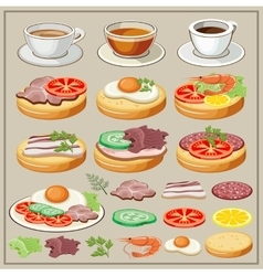 Set of breakfasts vector image vector image
