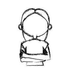 Sketch woman face comic hand drawn girl portrait vector