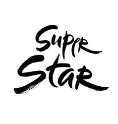 super star lettering hand vector image