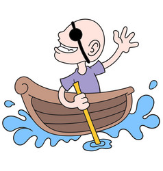 A bald man becomes pirate alone in small boat vector