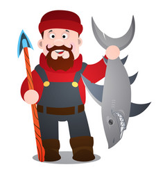 A fisherman with a harpoon and a shark cartoon vector