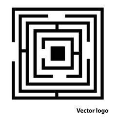 Abstract maze logo flat black labyrinth icon isol vector