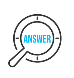 answer word magnifying glass vector image