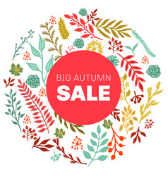 autumn sale round floral pattern vector image
