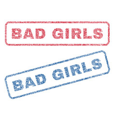 Bad girls textile stamps vector