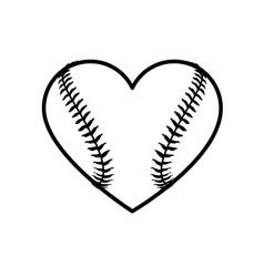 baseball heart shape icon lineart vector image