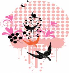 birds and floral vector image