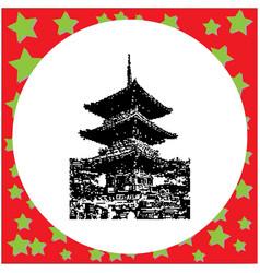 Black 8-bit three storey pagoda in kiyomizu dera vector