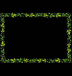 black background with frame of green leaves vector image