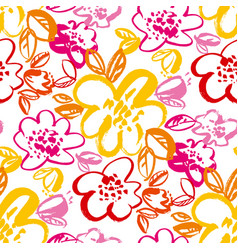 botanical hand drawn colorful seamless pattern vector image