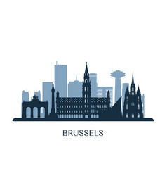 Brussels skyline monochrome silhouette vector