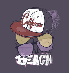 california beach t-shirt print with glasses and vector image