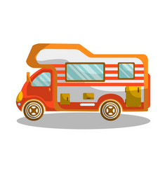 camping bus equiped with modern furniture and vector image