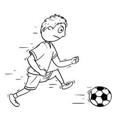 Cartoon of boy playing football soccer vector