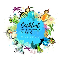 Cocktail party poster design vector