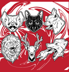 Collection hand drawn realistic animals vector