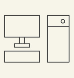 computer thin line icon pc vector image
