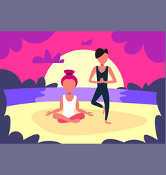couple man woman doing yoga exercises sunset beach vector image