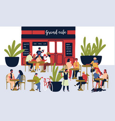 crowd relaxed cartoon people sitting at outdoor vector image